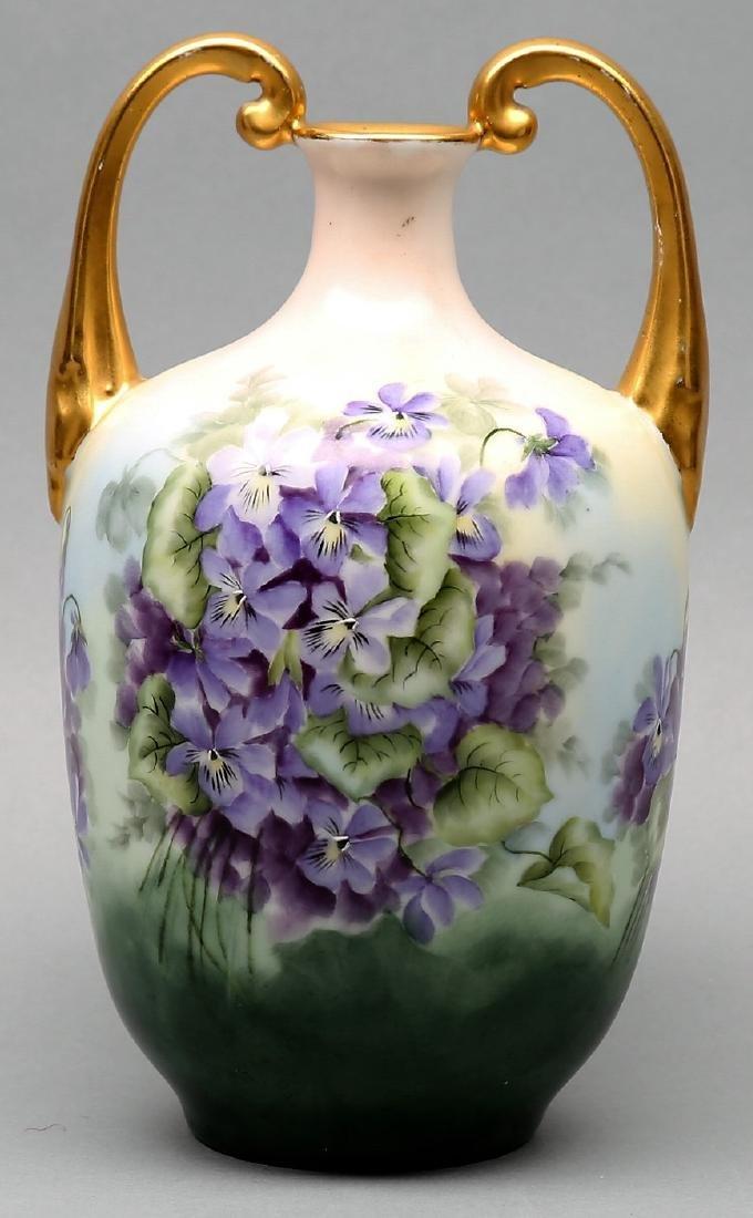 Antique Violet circa 1900 Vienna Austria porcelain vase