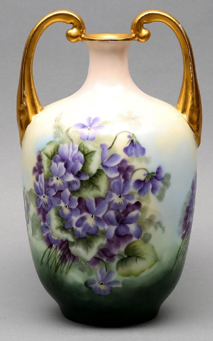 Antique Violet circa 1900 Vienna Austria porcelain vase - 2