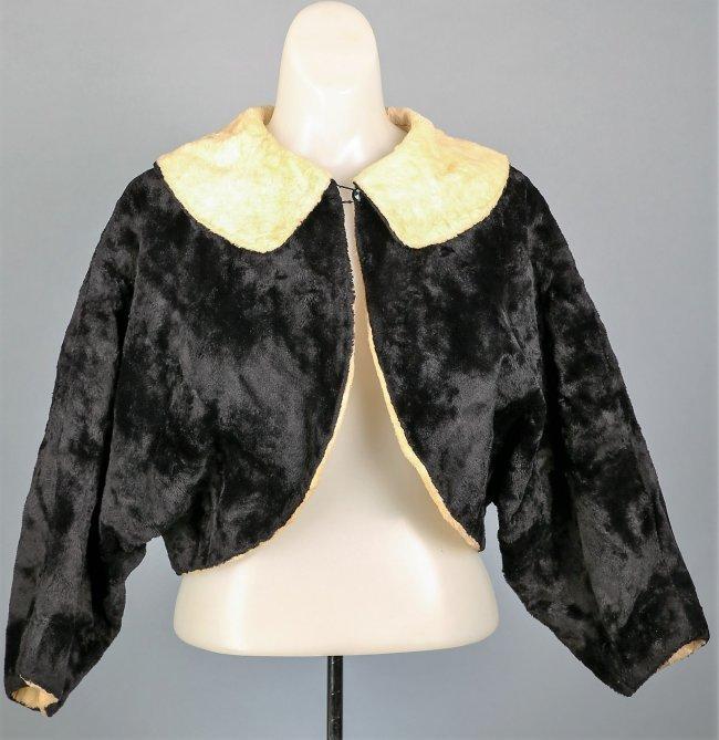 c1930 Black and Cream Faux Fur Caplet