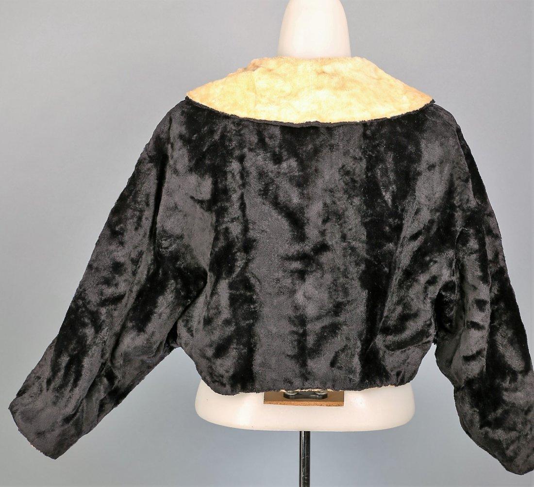 c1930 Black and Cream Faux Fur Caplet - 3