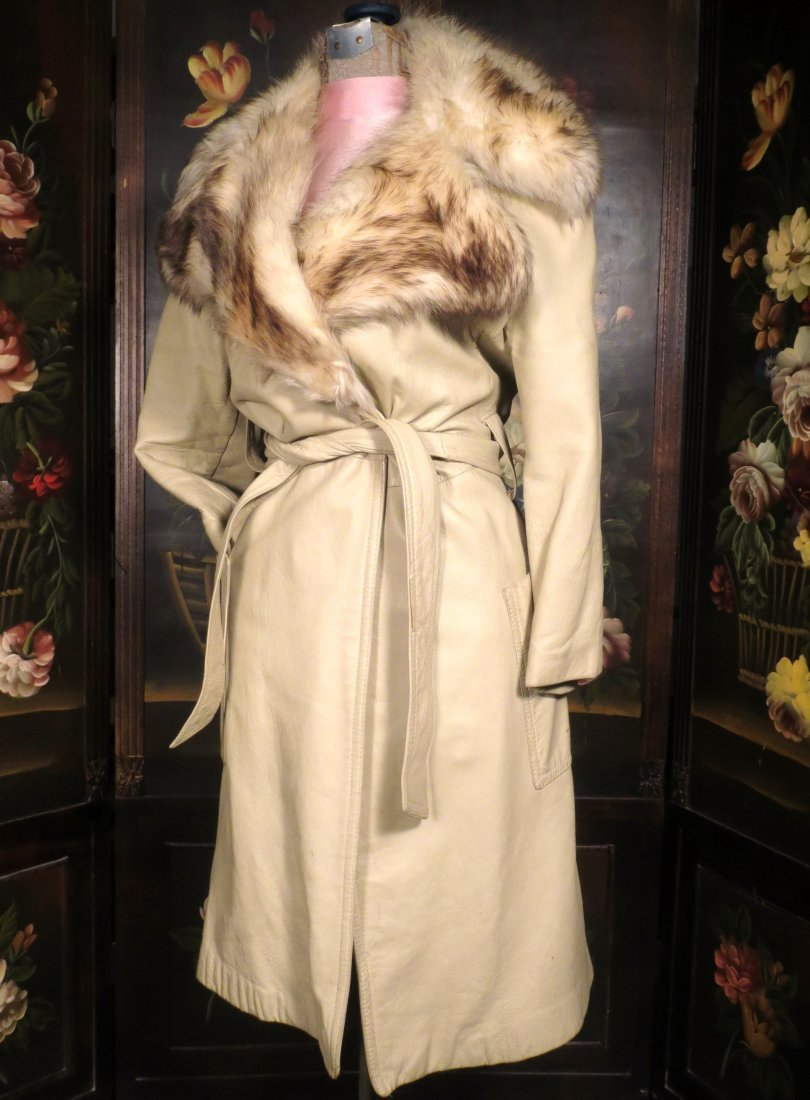 Vintage leather and Fur coat Saks 5th Ave - 2