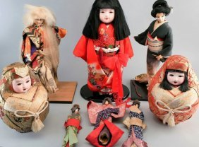 Japanese Doll Lot, Porcelain, Gofun, paper
