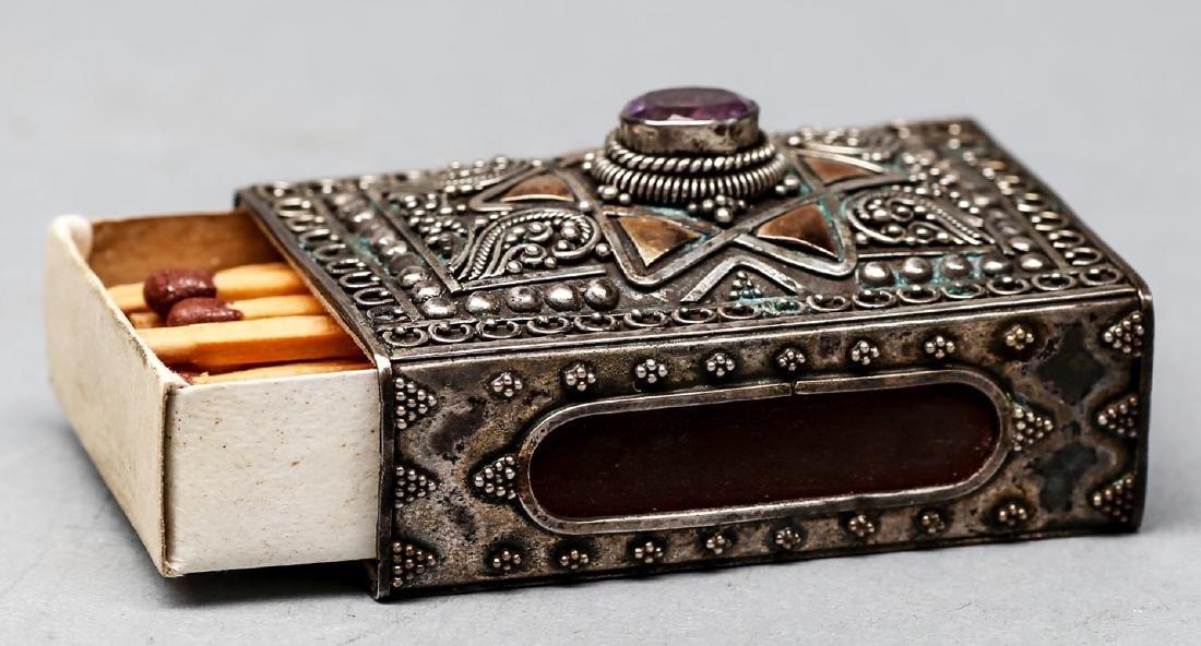 Antique Sterling/14K Gold Matchbox Holder - 3