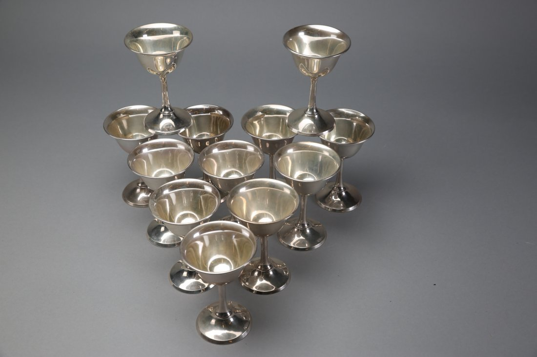 Beautiful Set of 12 Sterling Silver Cups - 3