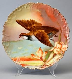 Antique B&H Limoges Game Bird Plate