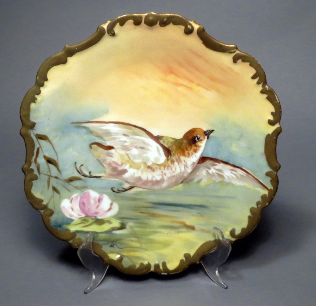 Limoges Game Bird Plate Signed Toh