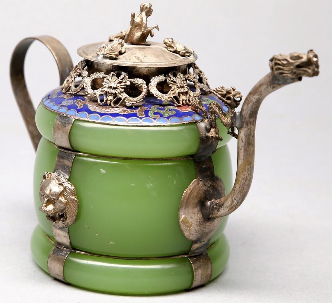 Chinese Jade, Silver, Enamel Teapot 1