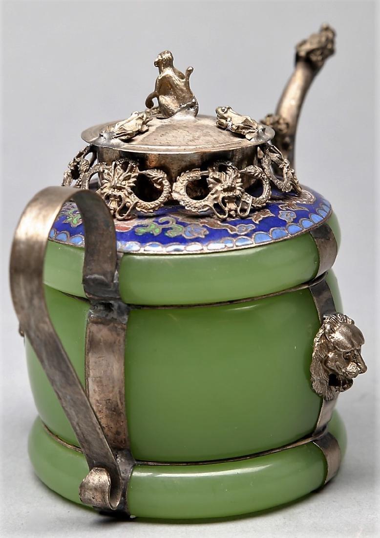 Chinese Jade, Silver, Enamel Teapot 1 - 2
