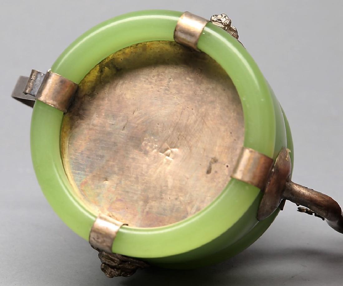 Chinese Jade, Silver, Enamel Teapot 1 - 3