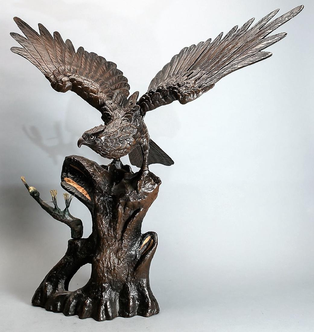 Large Japanese Cast Iron Eagle on Branch