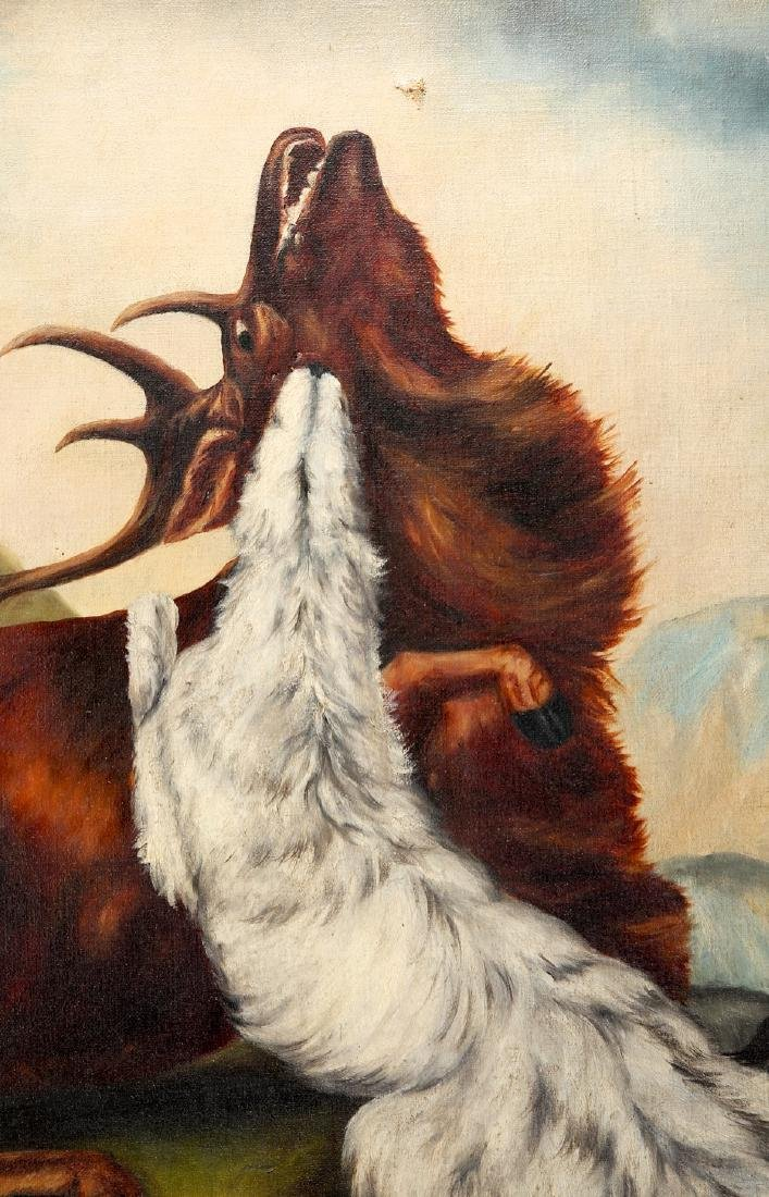 Large Victorian Elk & Wolf painting hunting - 2