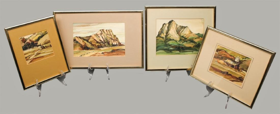 Mildred Wilkin Watercolor, Set of 4 Listed California