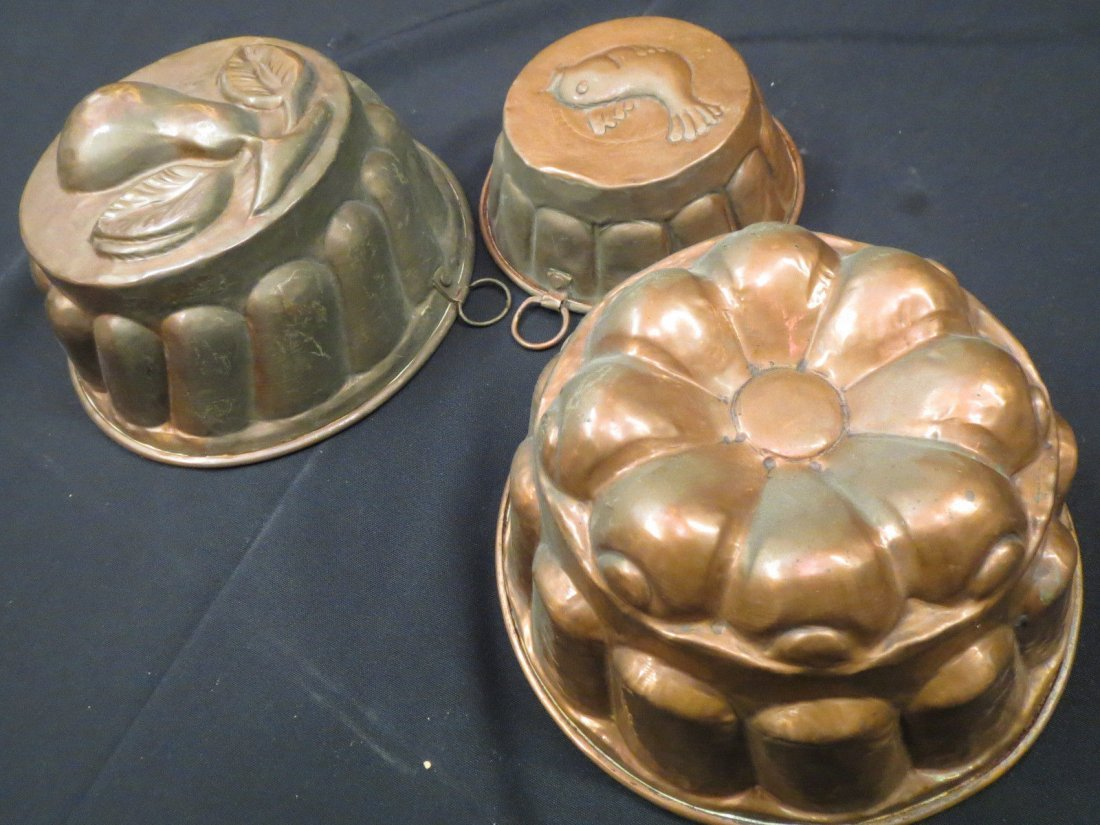 Antique Copper Molds Food Pudding Jelly French
