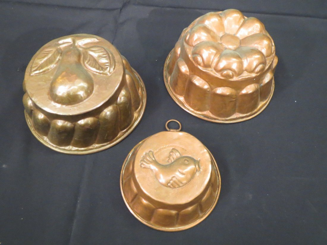 Antique Copper Molds Food Pudding Jelly French - 2