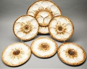 6 piece Longchamp Oyster Plate & Serving,  Basketweave,