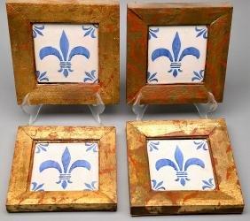 18th Century French Blue & White Tiles, Framed, Set of