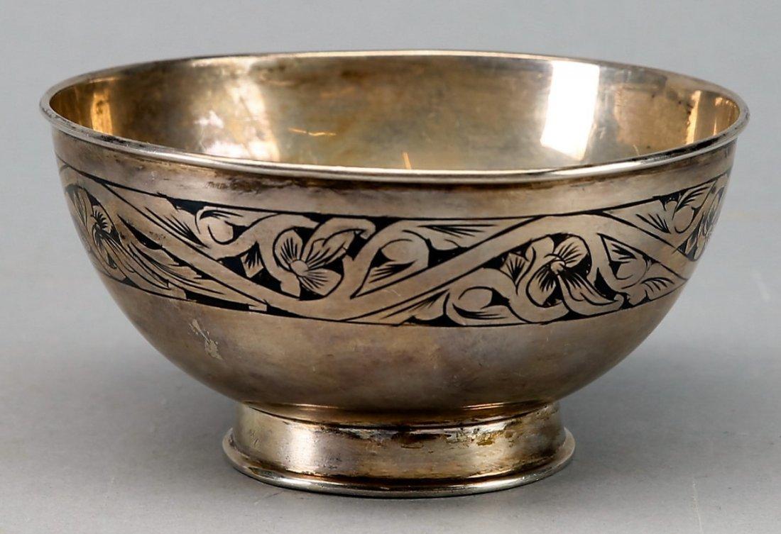Vintage Riga Russia (Latvia) Bowl .875 Niello silver