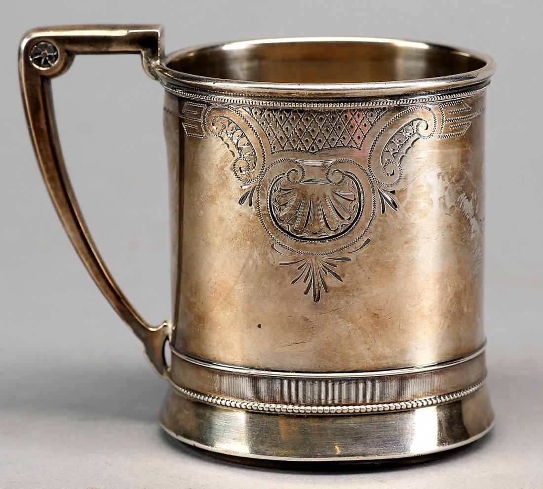 1873 Gorham Sterling Etched Cup