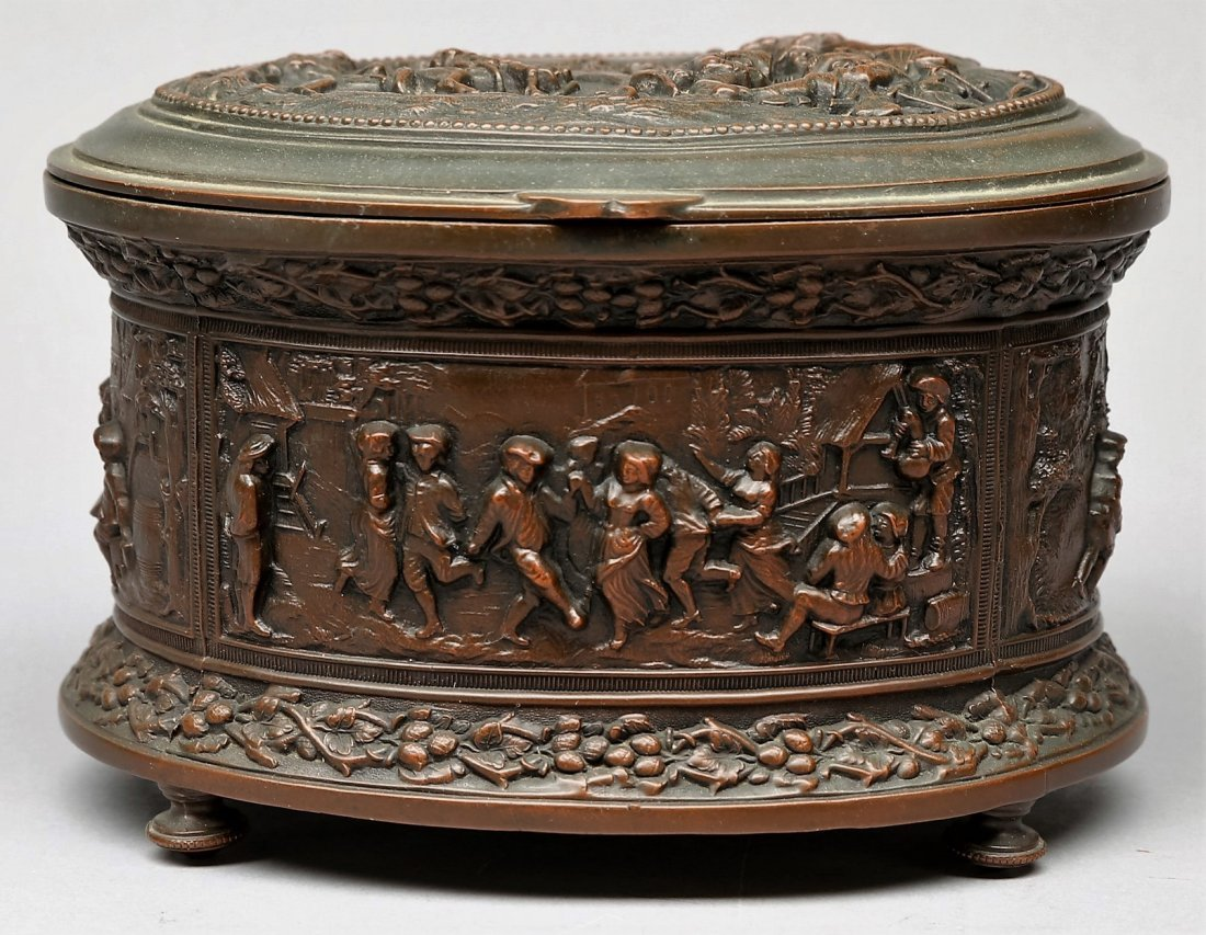 c1900 Jennings Brothers Bronze Casket Jewelry Box