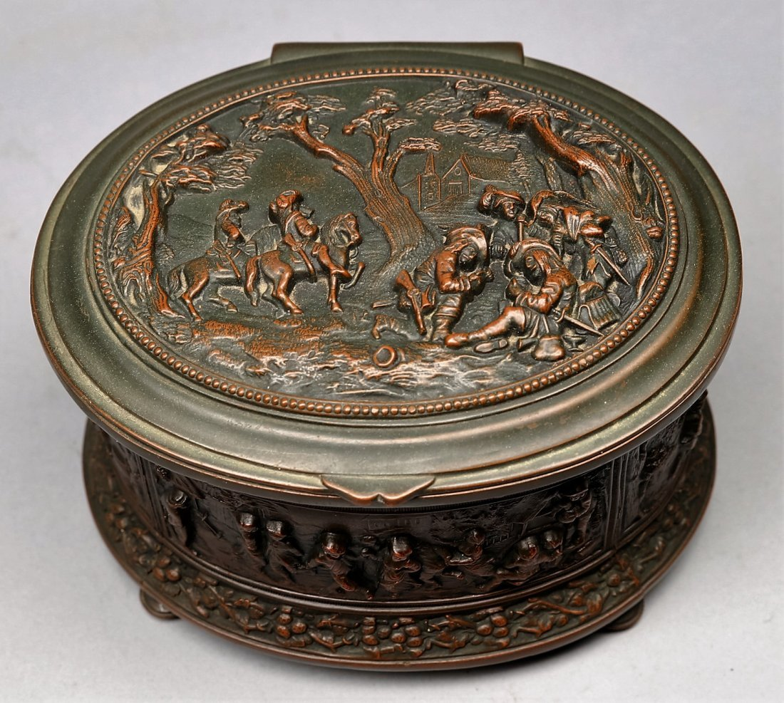 c1900 Jennings Brothers Bronze Casket Jewelry Box - 4