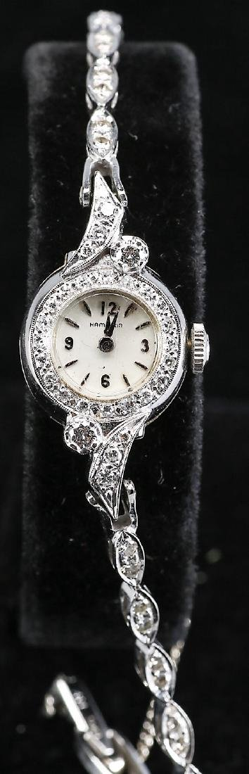 Vintage Hamilton 14k Gold & Diamond Ladies Watch