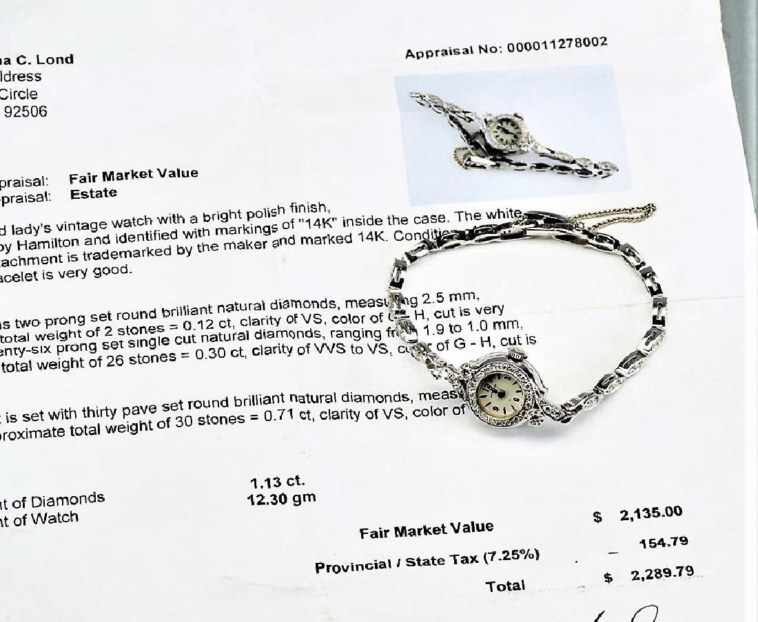 Vintage Hamilton 14k Gold & Diamond Ladies Watch - 2