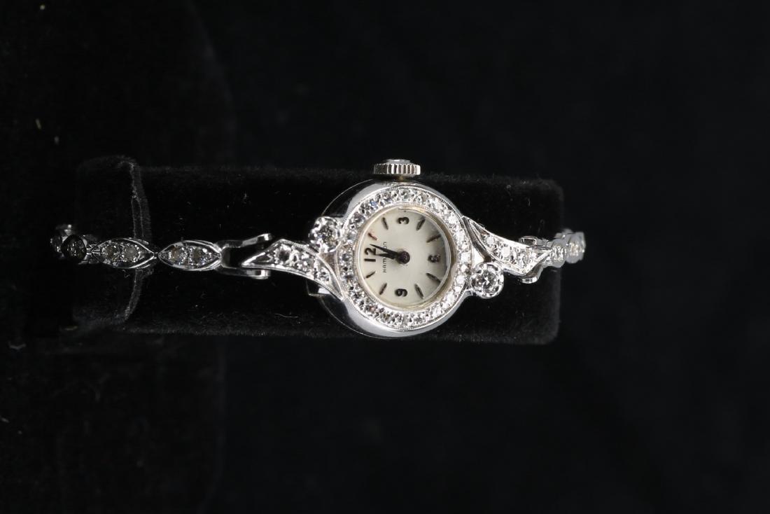 Vintage Hamilton 14k Gold & Diamond Ladies Watch - 3