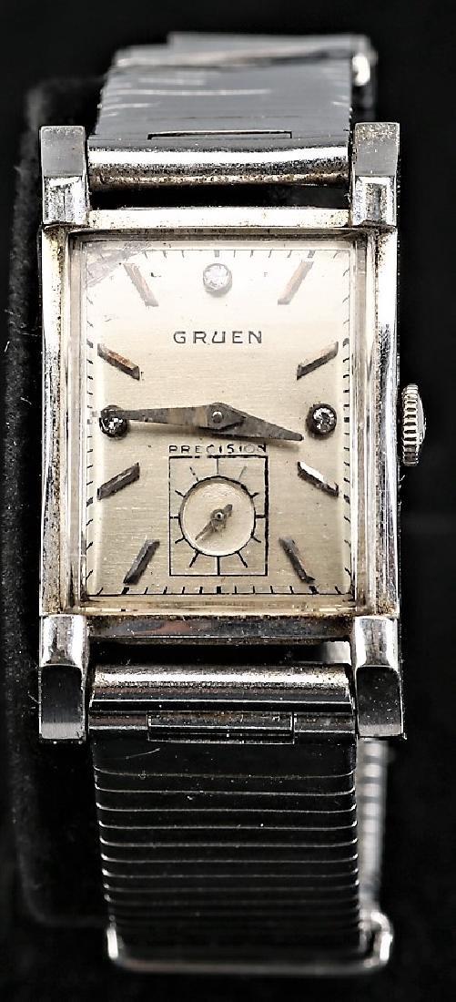 Mens Vintage Gruen Curvex 14k White Gold Watch