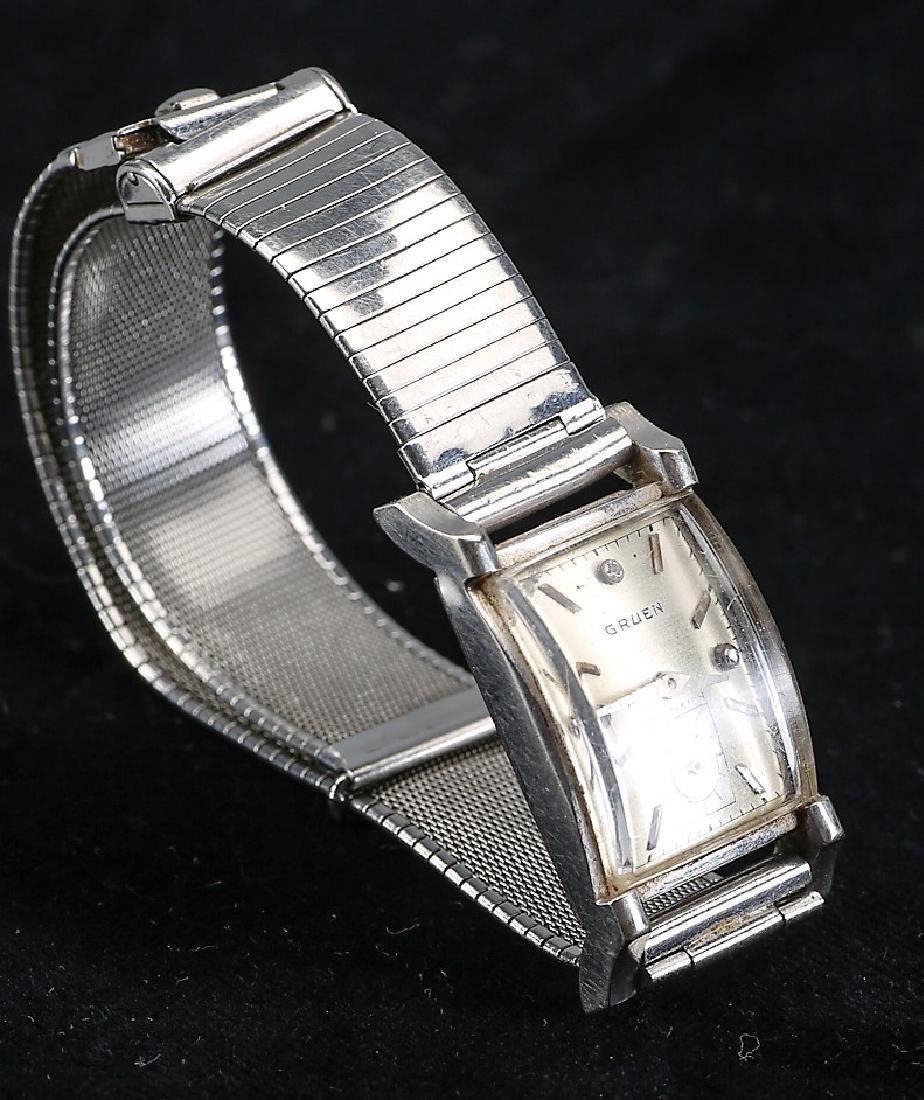 Mens Vintage Gruen Curvex 14k White Gold Watch - 2