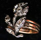 Beautiful Antique 14k Gold  Diamond Flower Ring