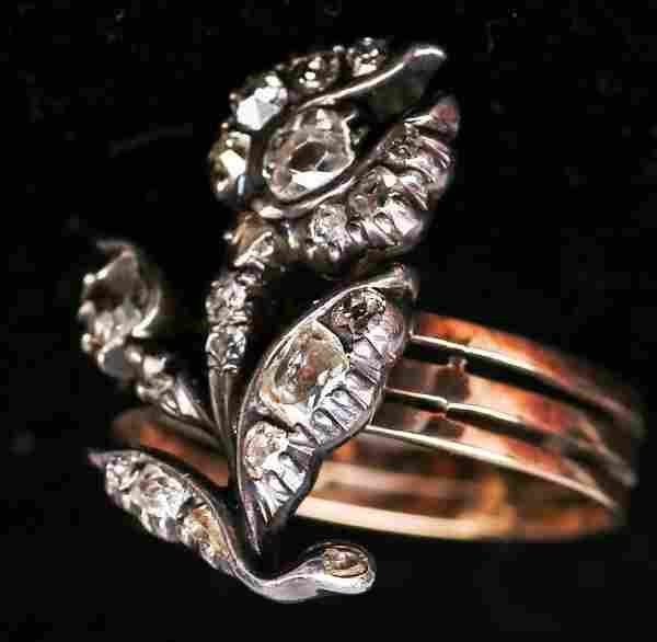 Beautiful Antique 14k Gold & Diamond Flower Ring