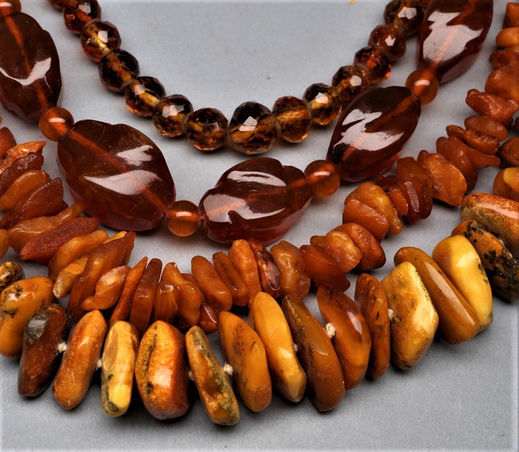 3 Natural Amber & 1 Crystal Necklaces - 2