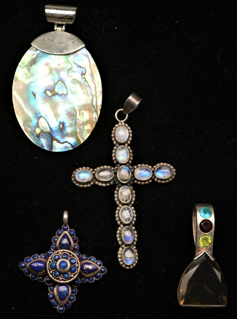 Misc Lot Sterling and Gemstone Pendants