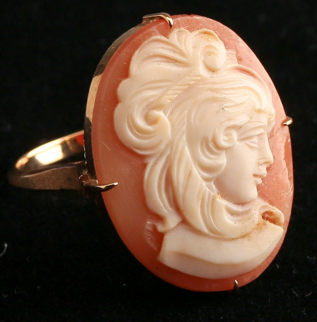 Antique 14K Gold Cameo Ring - 2