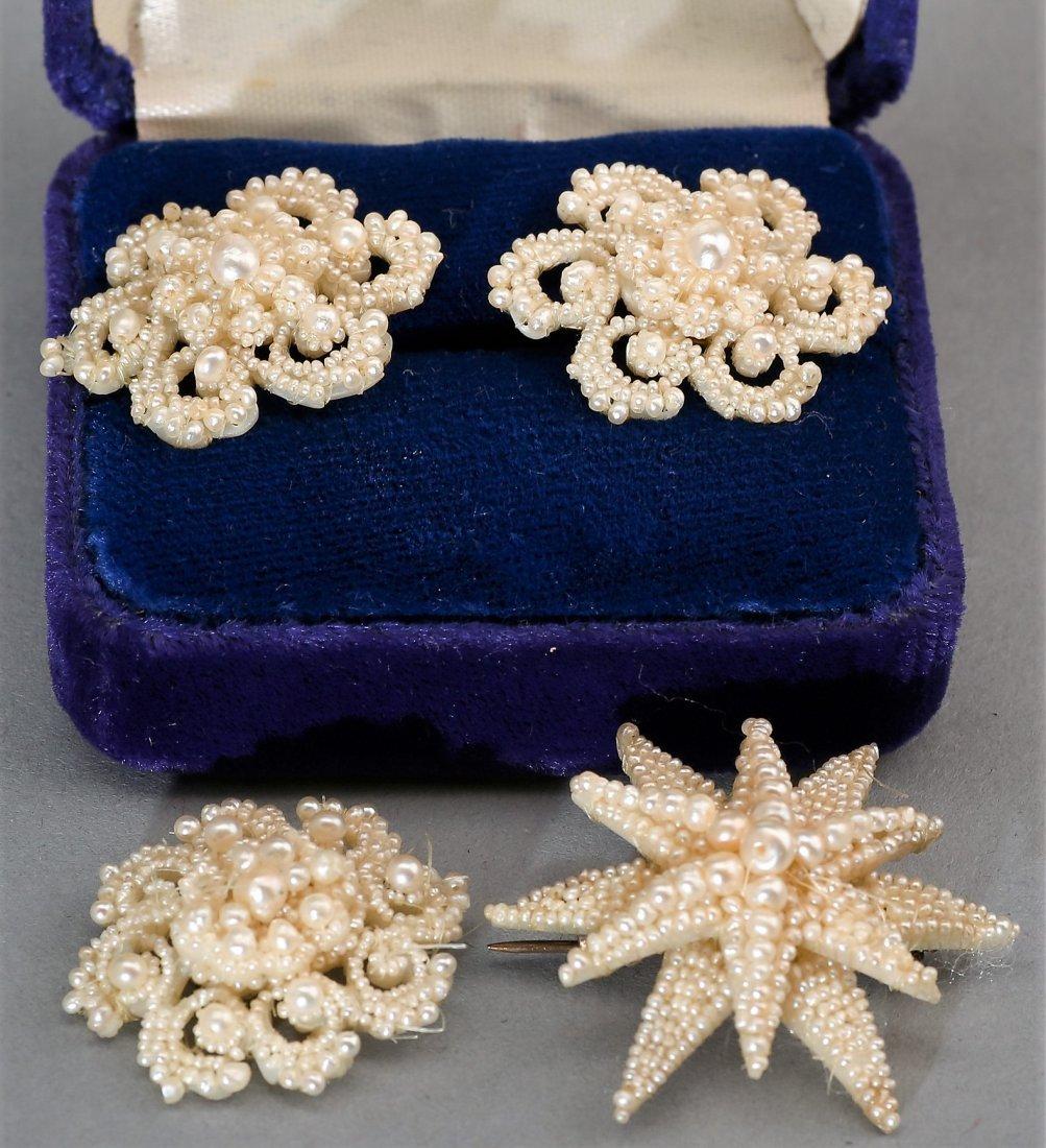 Matching Victorian Seed Pearl Earrings & 2 Brooch