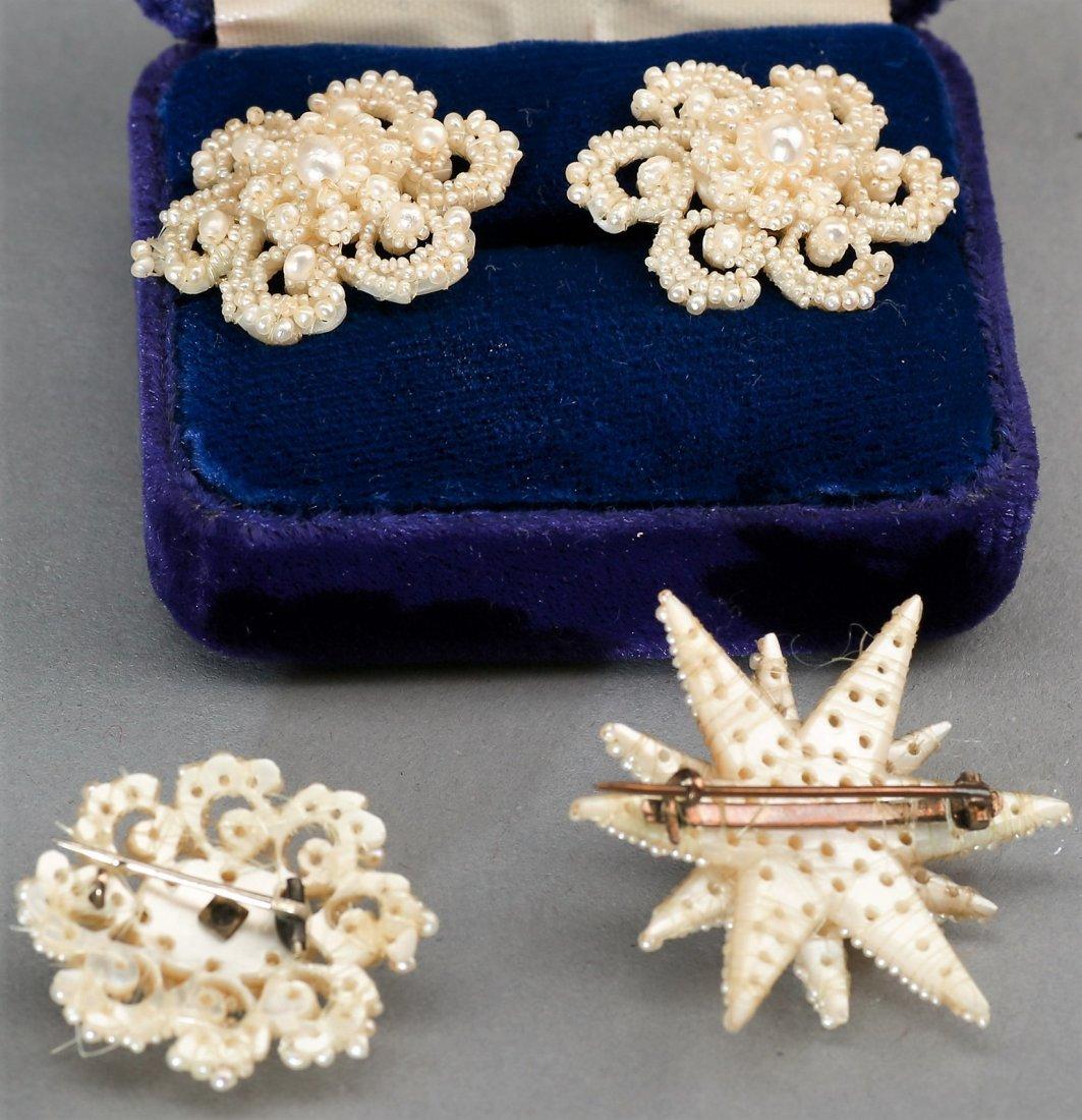 Matching Victorian Seed Pearl Earrings & 2 Brooch - 2