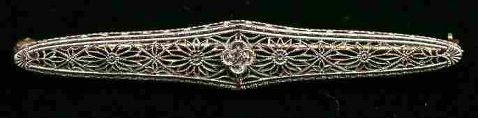 c1925 Art Deco 14K Yellow & White Gold Diamond Bar Pin