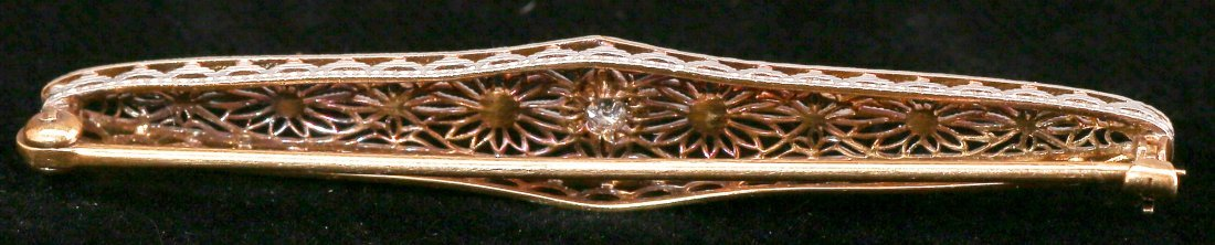 c1925 Art Deco 14K Yellow & White Gold Diamond Bar Pin - 2
