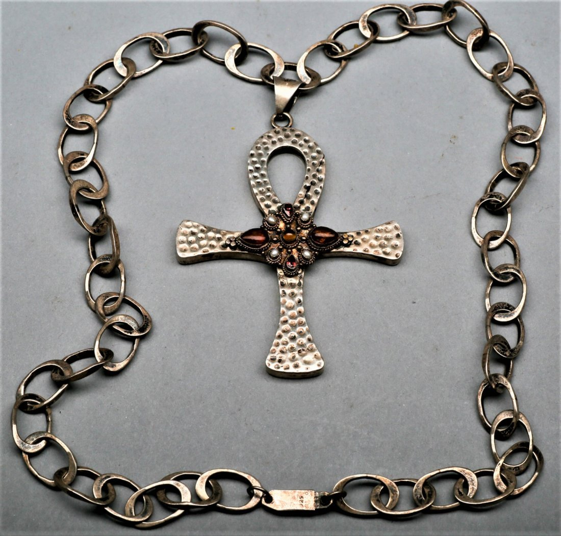 Sterling Silver Cross on Link Chain