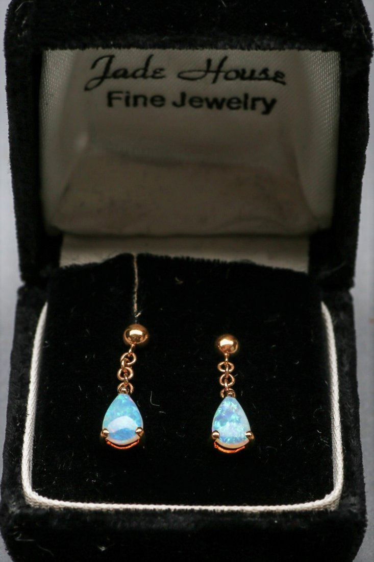 14k yellow gold Opal Earring Drops