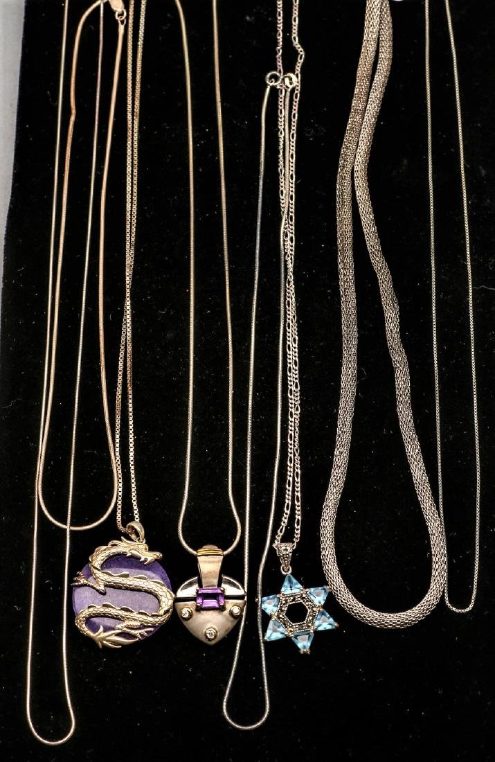 Box lot Sterling Silver Necklaces