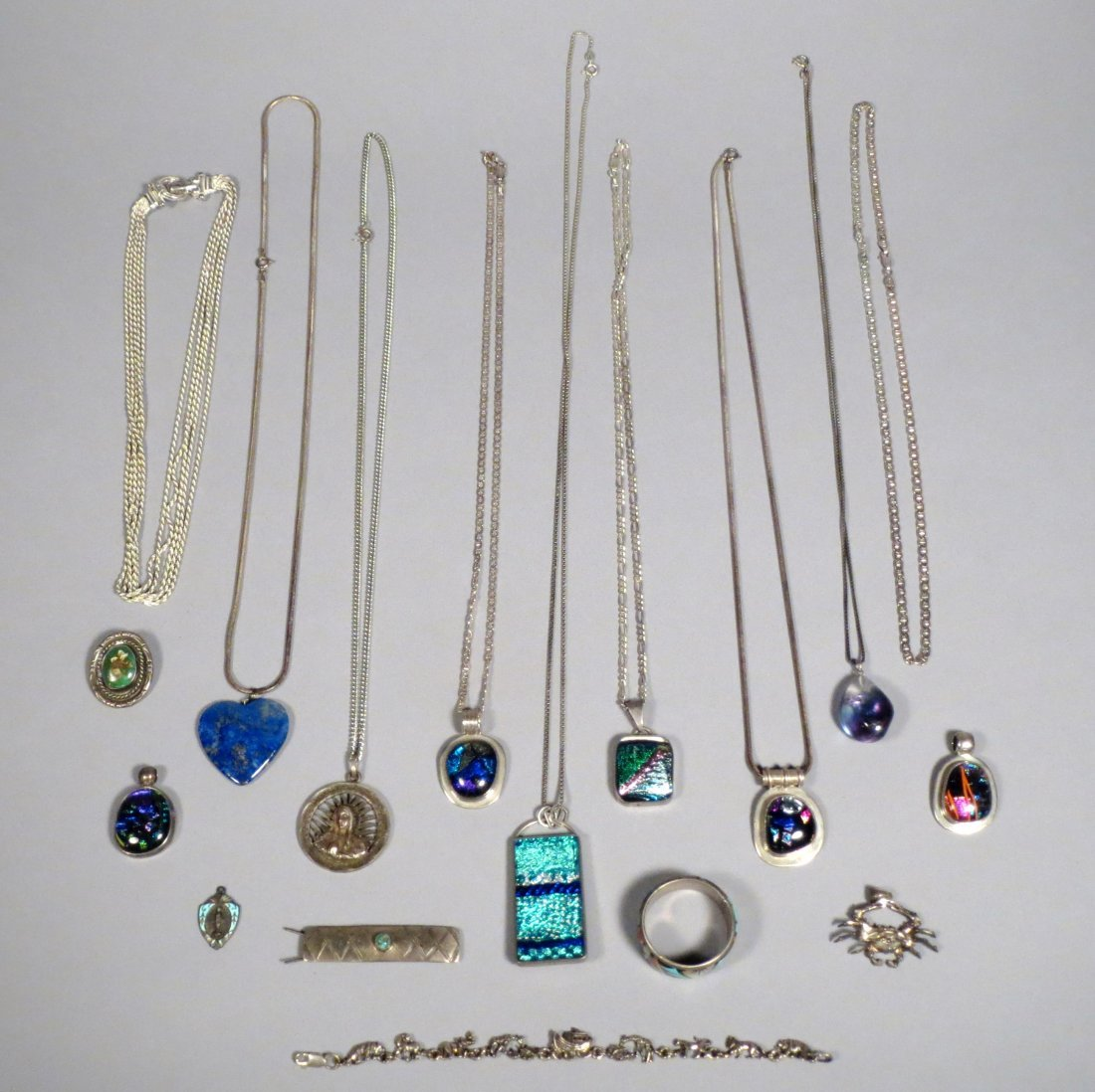 Lot Sterling Silver Necklaces Native American