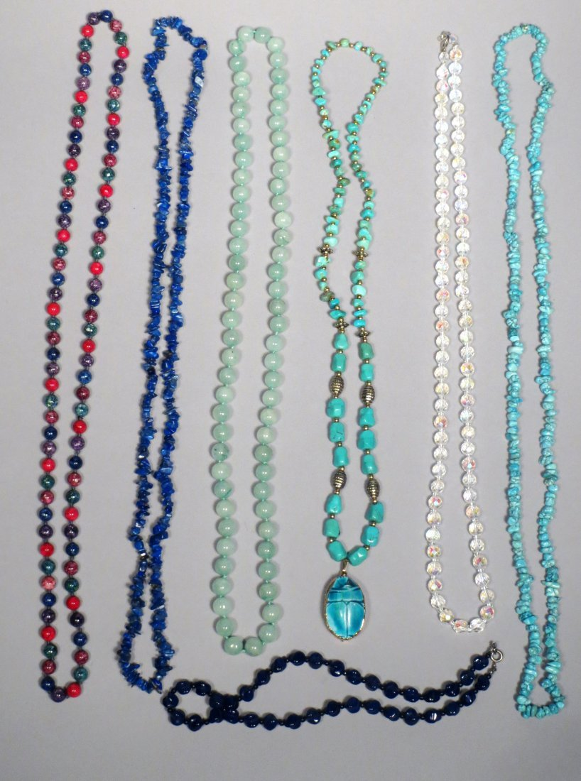 Jade, Turquoise, Lapis Necklace lot