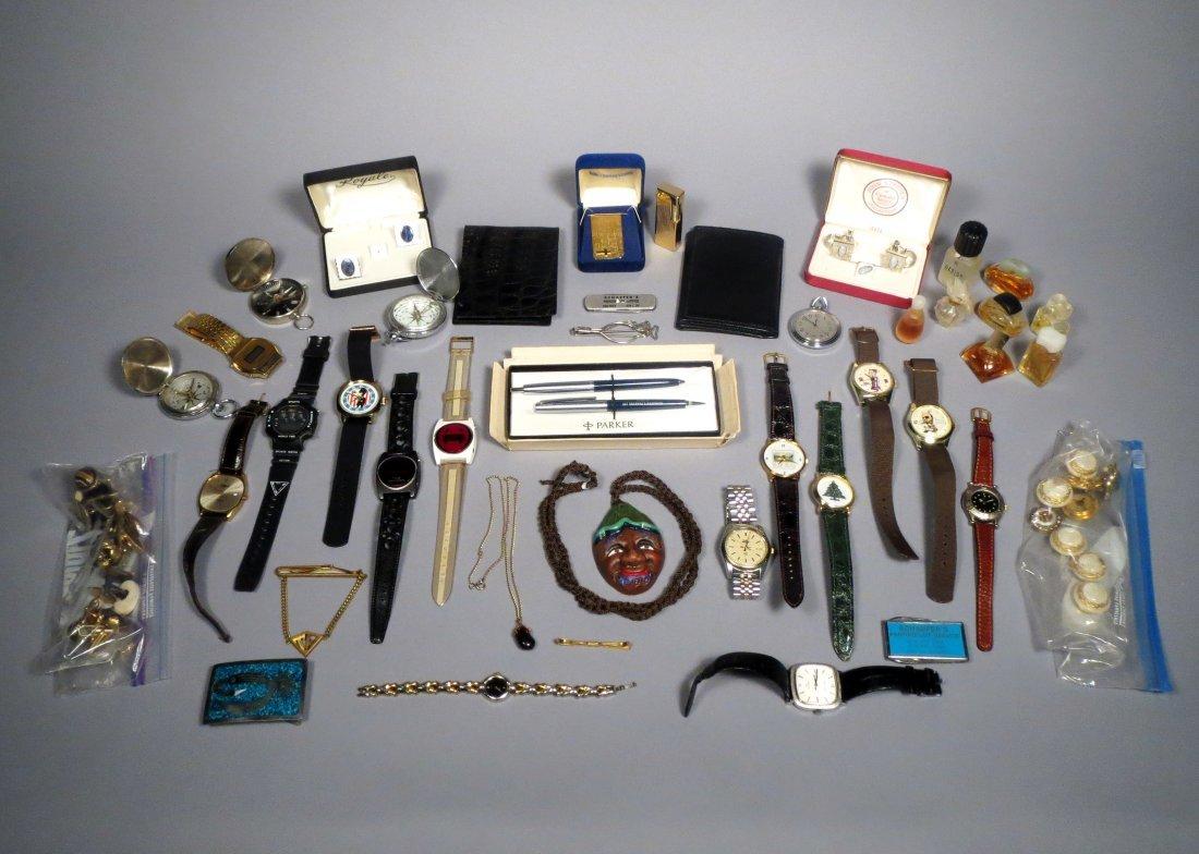 Box of Nixon Watches, perfume Parker Pen, Jewelry