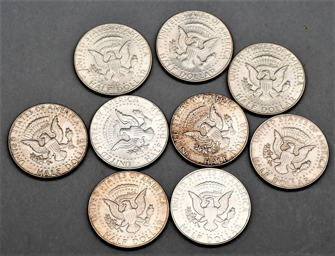 Lot of 9 1964 Kennedy Half Dollar 90% Silver Coins