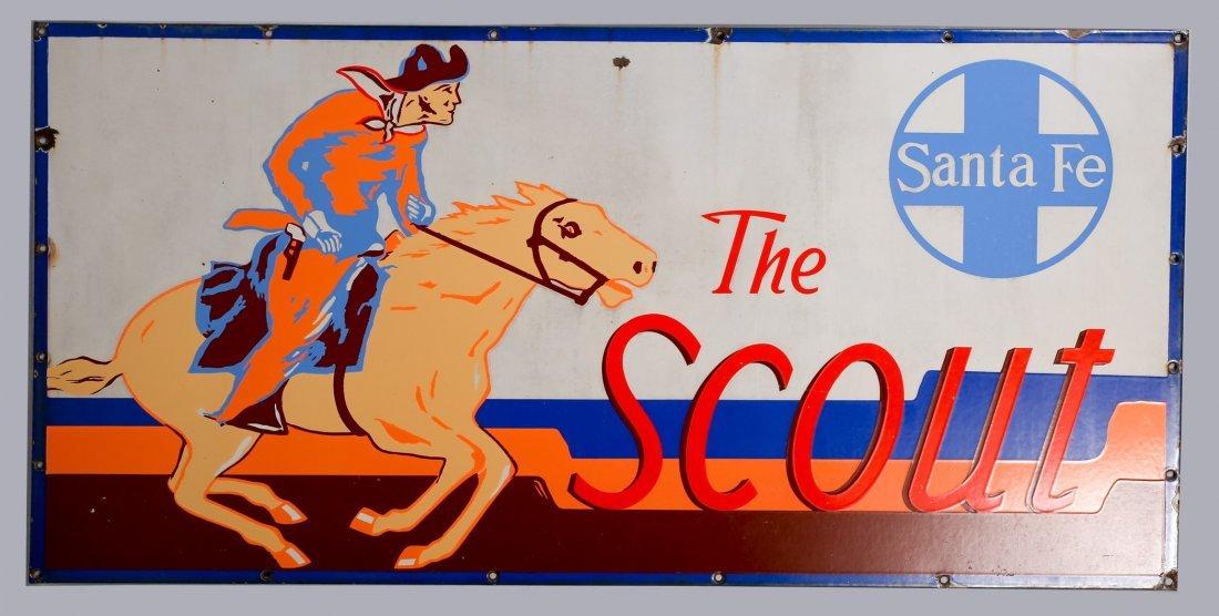 Vintage Santa Fe Railroad Scout Sign Porcelain.