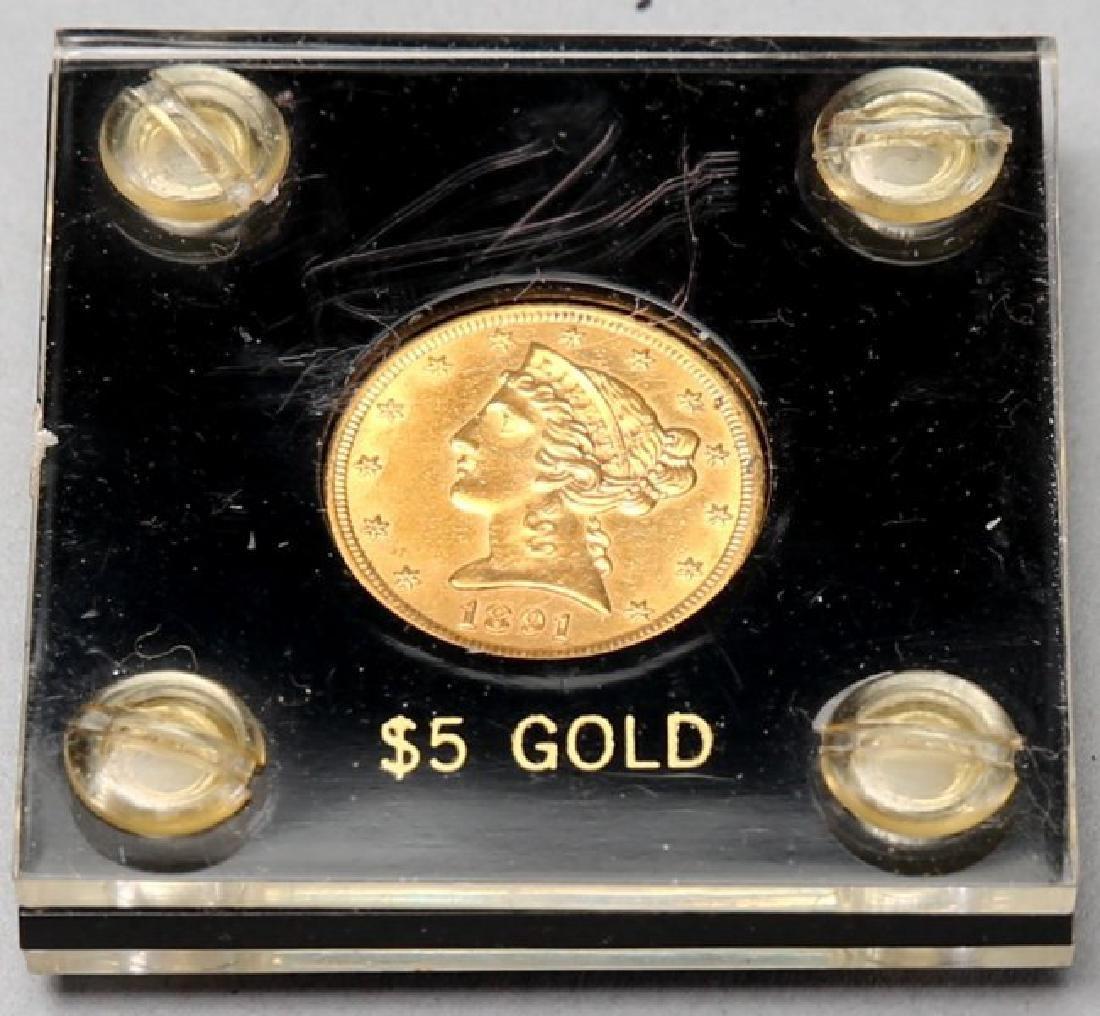 1891 Carson City CC $5 Gold Coin