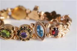 14K Hans Luetkemeier Slide Bracelet Gemstones Cameo
