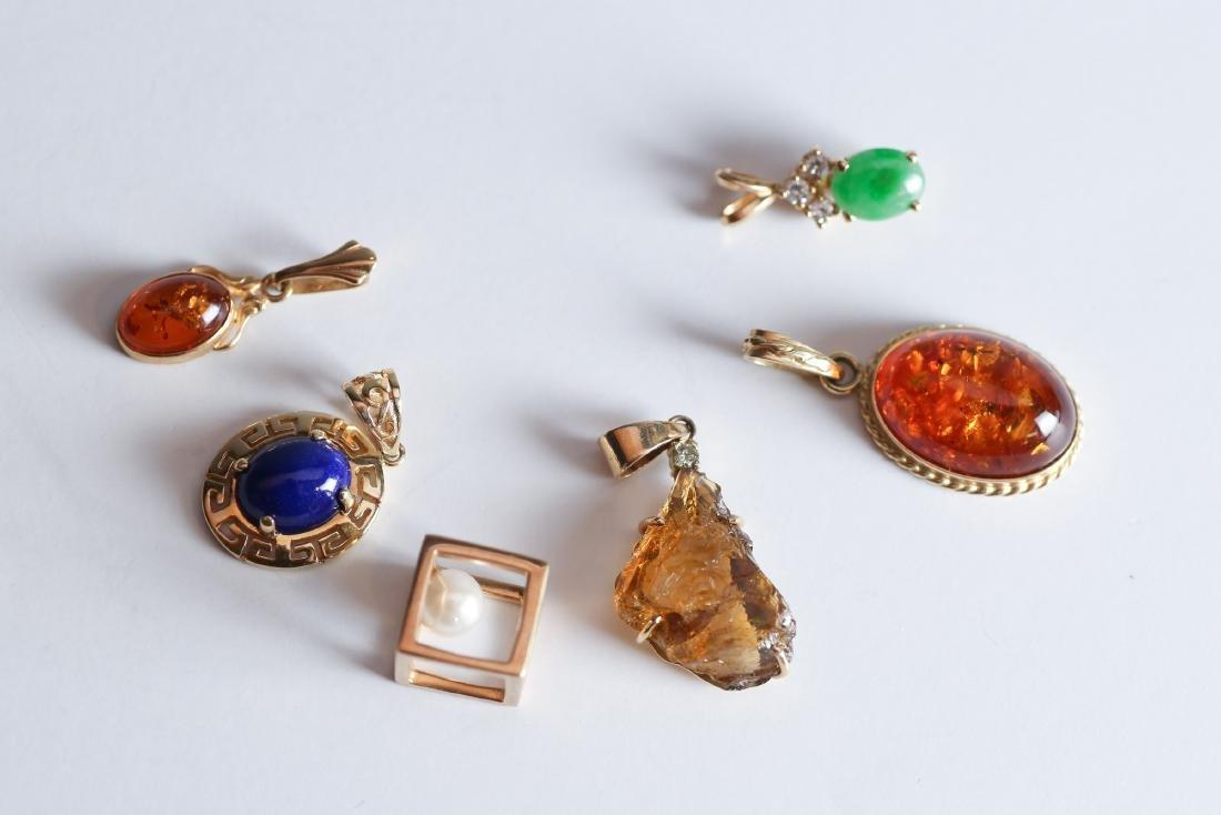 Lot 14K Gold, Semi Precious Stone Pendants/Charms