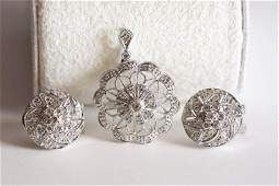14K White Gold & Diamond Pendant & Earring Set
